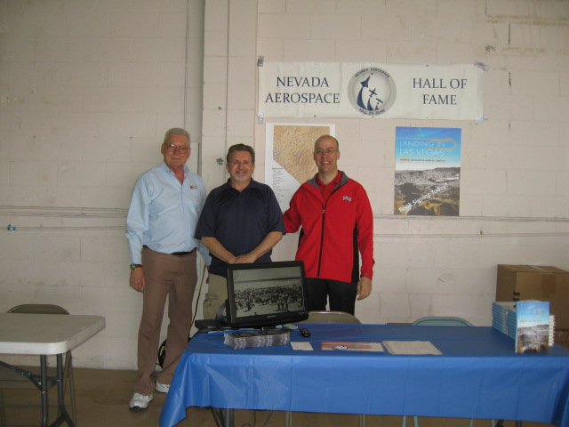 NVAHOF members sharing Nevada's aviation heritage with visitors. (Left to Right: Director Robert Friedrichs, Secretary Patrick Newcomb, Deputy Director Daniel Bubb)
